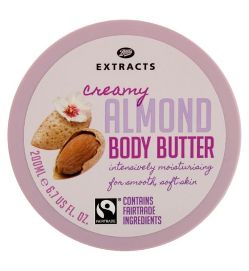 Boots Extracts [Almond Body Butter] 200ml Containing Fairtrade ingredients