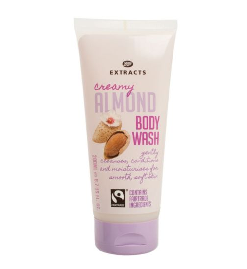 Boots Extracts [Almond Body Wash] 200ml Containing Fairtrade ingredients