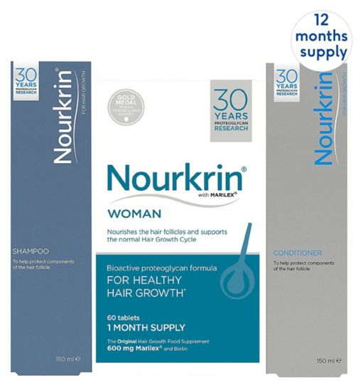 Nourkrin Woman 12 months + free 4x Nourkrin Shampoo & Scalp Cleanser 150ml & 4x Nourkrin Conditioner 150ml
