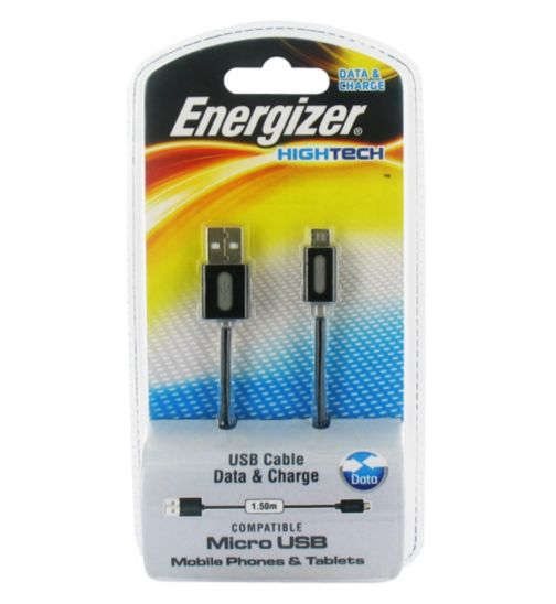 Energizer High Tech Micro USB Charge and Sync Cable for Smartphones and Tablets- Black