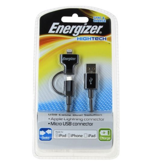 Energizer High Tech Dual End Micro USB Charge and Sync Cable for iPhone/ iPad/ Android Smartphones and Tablets