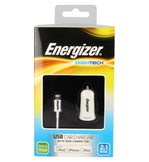 Energizer High Tech Car Charger with USB for iPhone 5, 5C, 6/ iPad Mini/ New iPad
