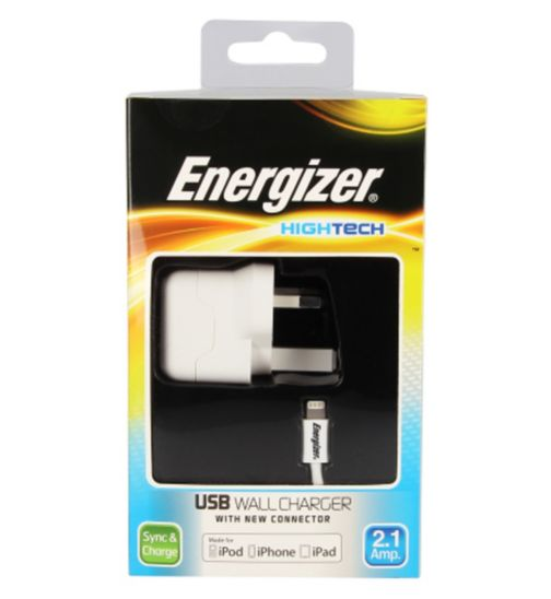 Energizer High Tech Mains Charger with USB for iPhone 5, 5 C, 6/ iPad Mini/ New iPad