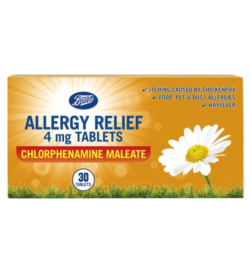 Boots Pharmaceuticals Allergy Relief 4mg Tablets Chlorphenamine Maleate - 30 tablets (6 years +)