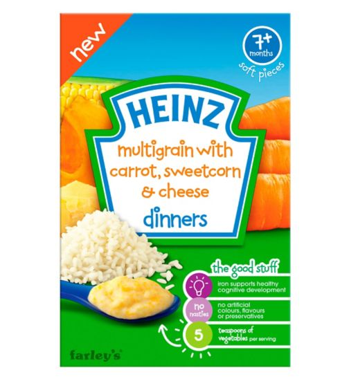 Heinz 7+ Months Multigrain with Carrot, Sweetcorn & Cheese Dinners 100g