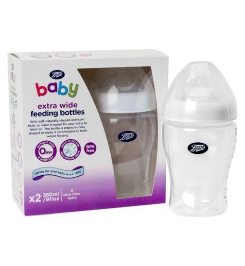 Boots Baby Extra Wide Necked Feeding Bottles 260ml- x2