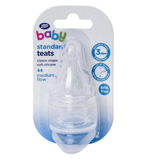 Boots Baby Standard Necked Silicone Teat- Medium Flow