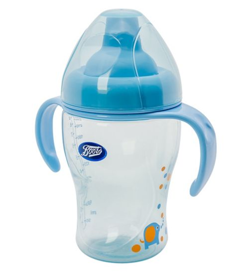 Boots Baby Trainer Bottle- Blue