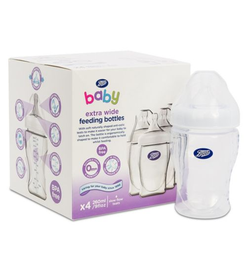 Boots Baby Wide Necked Feeding Bottles 260ml- x4