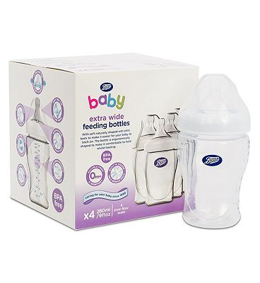 Boots Baby Wide Necked Feeding Bottles 260ml x4