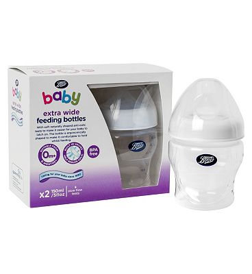 Boots Baby Extra Wide Necked Feeding Bottles 150ml x2