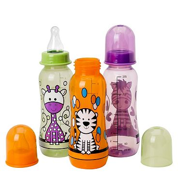 Boots Baby Standard Necked Decorated Feeding Bottle 260ml x3