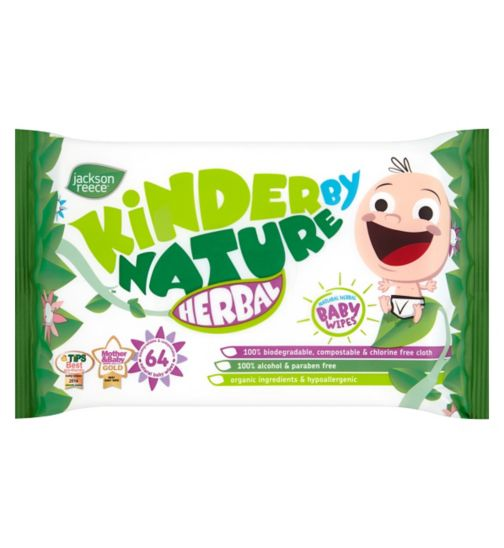 Jackson Reece Kinder by Nature 64 Natural Herbal Baby Wipes