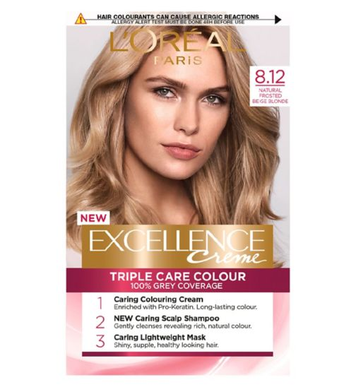 L'Oreal Paris Excellence Crème Permanent Hair Dye 8.12 Natural Frosted Beige Blonde