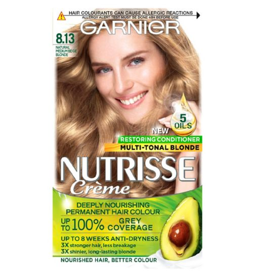 Garnier Nutrisse Crème Permanent Hair Colour 8.13 Natural Medium Beige Blonde