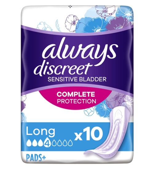 Always Discreet Long Incontinence Pads x 10