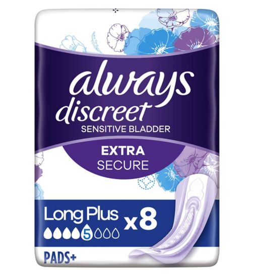 Always Discreet Long Plus Incontinence Pads x 8