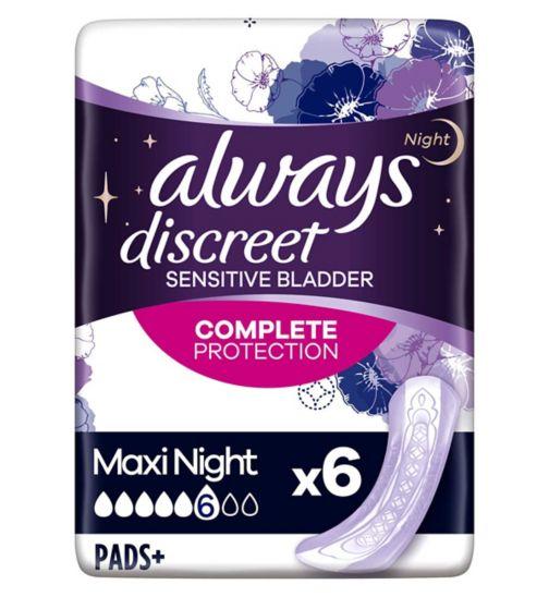 Always Discreet Maxi Night Incontinence Pads x 6