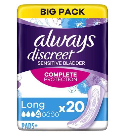 Always Discreet Incontinence Pads+ Long For Sensitive Bladder 20
