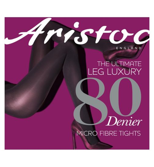 Aristoc 80 Denier Microfibre Opaque Black Tights 1 Pair Pack - S/M