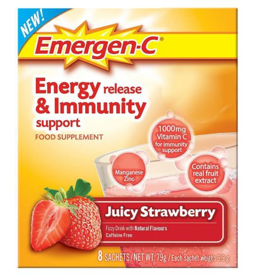 Emergen-C Juicy Strawberry Sachets with sweetener - 8 x 9.8 g