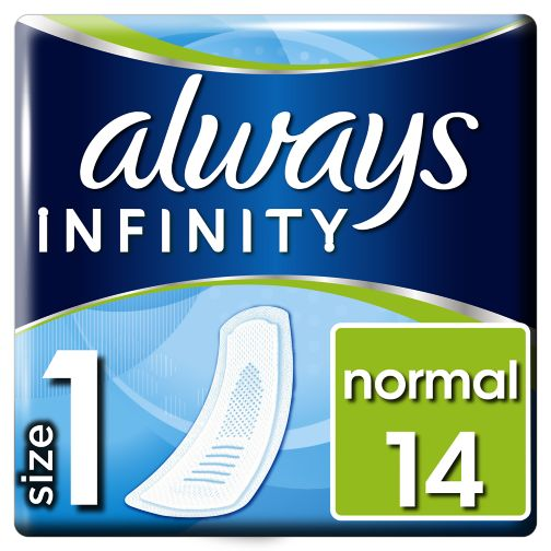 Always Infinity Sanitary Towels Normal No Wings 14x Towels