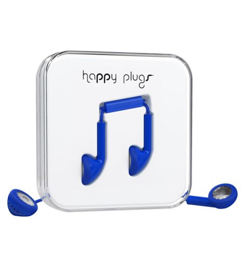 Happy Plugs Ear Buds Headphones With Mic And Remote ? Cobalt Blue