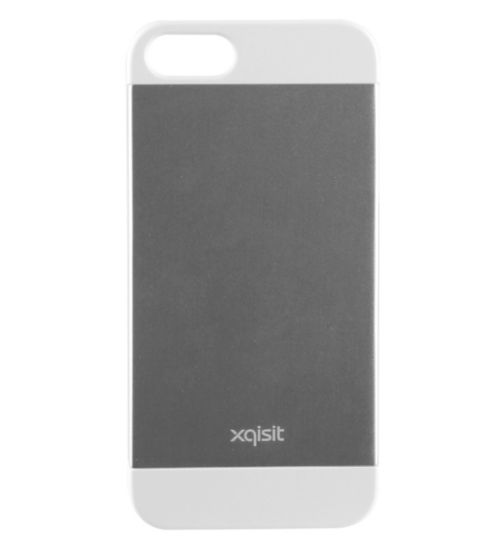 Xqisit iPlate Metal Phone Case for iPhone 5S- Silver and White