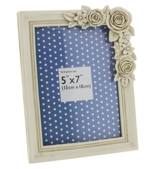 Cream Flowers Resin Photo Frame- 7 x 5