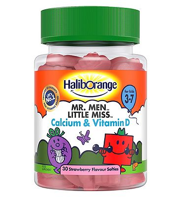 Mr. Men Little Miss Calcium & Vitamin D Strawberry Softies with sweetener - 30