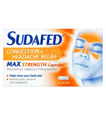 Sudafed Congestion & Headache Relief Max Strength - 16 Capsules