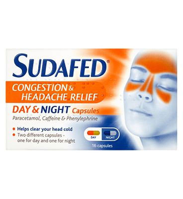 Sudafed Congestion & Headache Relief Day & Night - 16 Capsules