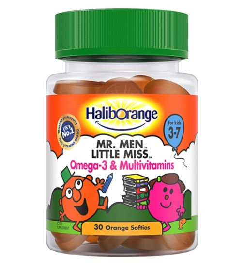 Haliborange for Kids 3-7 Mr. Men Little Miss Omega 3 & Multivitamins - 30 Orange Softies