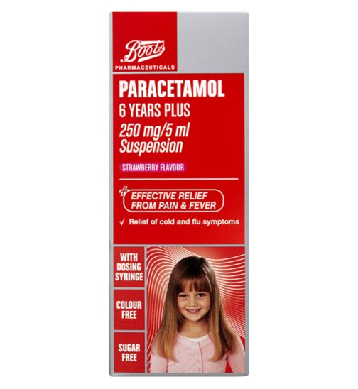 Boots Pharmaceuticals Paracetamol 6 Years Plus 250 mg/5 ml Suspension
