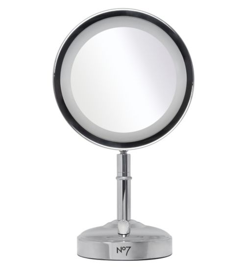 No7 Silver Illuminated Makeup Mirror - Exclusive to Boots