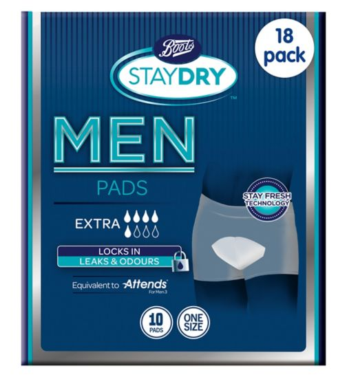 Boots Pharmaceuticals Staydry Men's Extra - 10 Pads;Boots Staydry For Men Extra 10 Pads;Boots Staydry for Men Extra - 180 Pads (18 x 10 Pads)