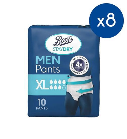 Boots StayDry Mens Extra Large Pants - 80 Pack (8 Pack Bundle);Boots Staydry For Men XL (Extra large) Waist Size - 10 pairs - for 39-63 inch/100-160cm waist;Boots Staydry Mens Extra Large Pants - 10 pack