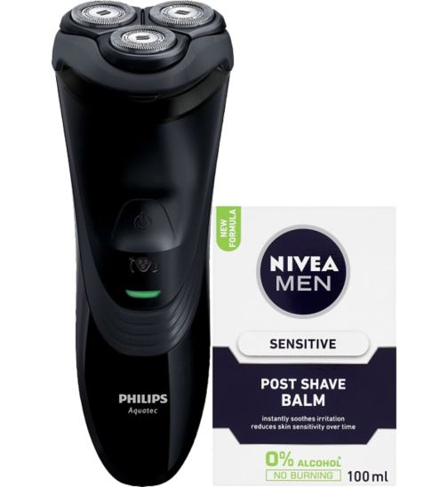 NIVEA MEN Sensitive Post Shave Balm 100ml;Nivea F/m A/s  Balm Sensitive 100ml;Philips AquaTouch AT899 Wet & Dry electric shaver and NIVEA MEN Sensitive Post Shave Balm 100ml;Philips AquaTouch Black  AT899/16;Philips Series 3000 Wet & Dry Men's Electric Shaver AT899/06 with Pop-up Trimmer