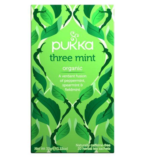 Pukka Organic Three Mint Herbal Tea Sachets - 32g