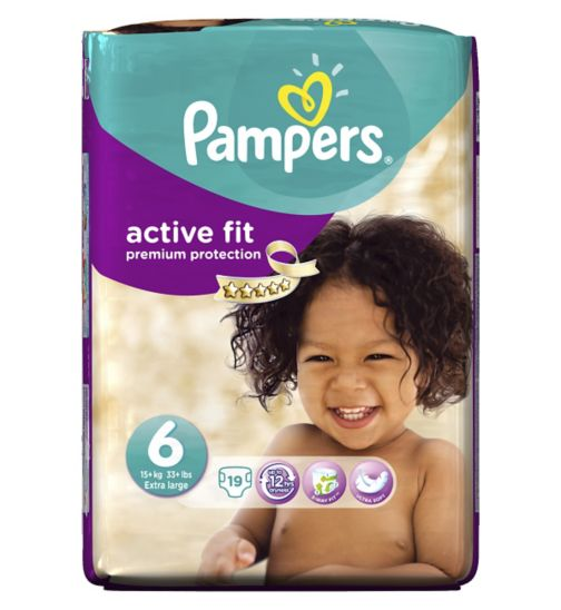 Pampers Active Fit Size 6 (Extra Large) Carry Pack 19 Nappies
