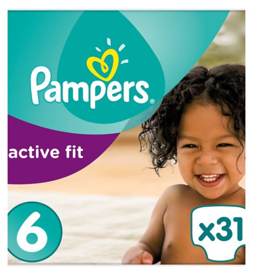 Pampers Active Fit Size 6, 31 nappies, 15kg+, With Absorbing Channels