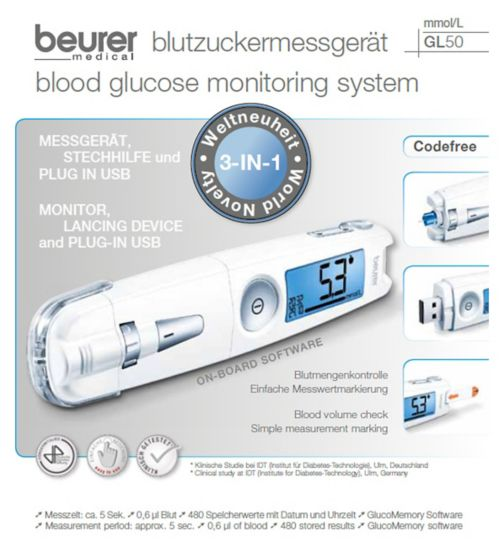 Beurer GL50 White 3 in 1 Blood Glucose Monitor