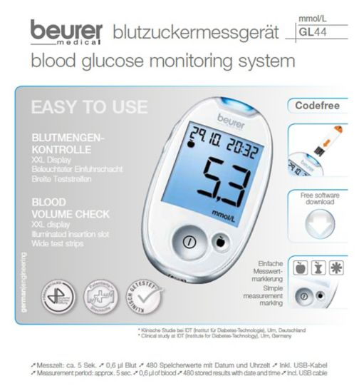 Beurer GL44WHT Blood Glucose Monitor