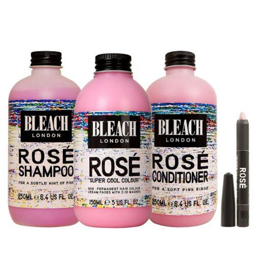 BLEACH Hair Crayon - Rosé;BLEACH London Pink Hair Bundle  - Semi Permanent;BLEACH London Rose Conditioner 250ml;BLEACH London Rose Shampoo 250ml;BLEACH Rose Conditioner 250ml;BLEACH Rose Shampoo 250ml;Bleach Hair Crayons Rose;Bleach London Super Cool Colours Rose;Bleach Super Cool colours Rose 150ml