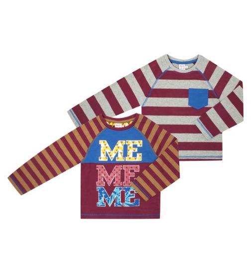 Boys 2 Pack Long Sleeved T-Shirts - Mini Club