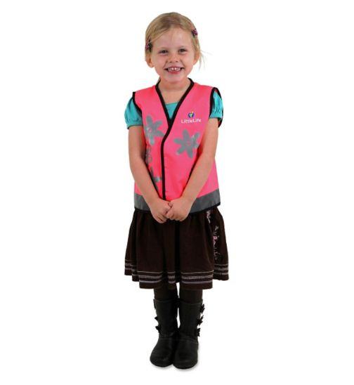LittleLife Reflective Safety Vest - Pink Butterfly - Small