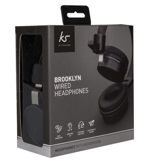 1078678946e KitSound Brooklyn Wired Headphones Black