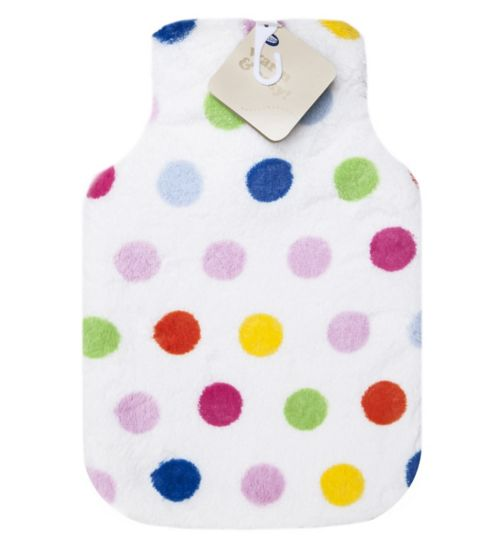 Boots hot water bottle multi coloured spots