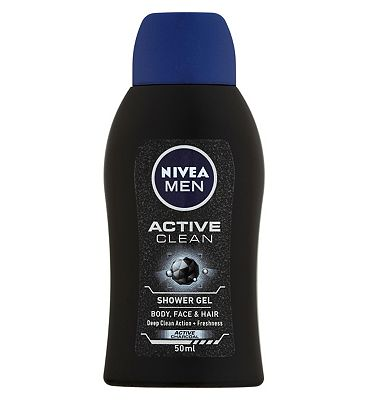 NIVEA Men Mini Shower Gel Travel Size, Active Clean with Active Charcoal, 50ml