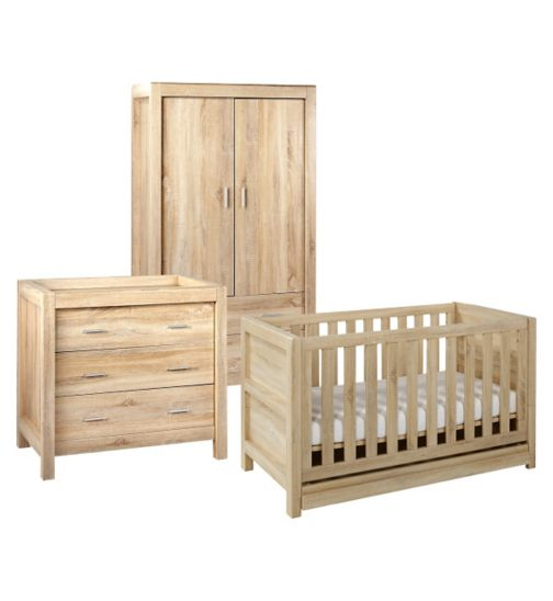 Tutti Bambini Milan 3 Piece Room Set (Cot, Chest, Wardrobe) - Reclaimed Oak Finish